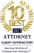 10 Best - 2017 - Attorney Client Satisfaction - American Institute of Criminal Law Attorneys